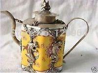famous Excellent tibet silver yellow porcelain engraving gecko monkey statue teapot Antique crafts Copper Bronze