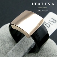 High Quality Real Gold Plated Italina Jewelry Fashion Square Ring for Women