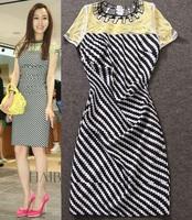 Best Grade New Fashion Dress 2014 Summer Celebrity Inspired Women Vintage Print Embroidery Beads  Short Sleeve Novelty Dress