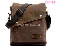 Coffee Color Men Boy Canvas Leather Shoulder Bag Men School Travel Casual Small Messenger Bags Satchel