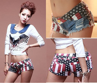 women shorts sexy skinny jeans shorts with american flag new 2014 fashion edge  damage design girl summer pants free shipping