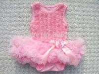 Girl Baby Ivory Rosette Tutu Romper Dress,Sweet Heart Rosette Baby Holiday Dress