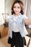2014 Lady Blouses & Shirts Female Gradient Pattern Cotton Blouse Jeans Women Casual Loose Tops Woman High Street Denim Shirt
