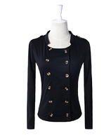 2014 New Women's Vogue Fashion Double Long Sleeves Breasted Stand Collar Knitting Short Jacket Coat Black/Apricot