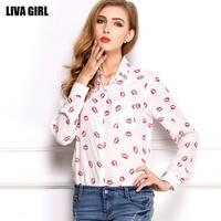 Spring Summer 2014 women shirt Sweet mouth  print ladies long sleeve turndown ladies casual blouse freeshipping
