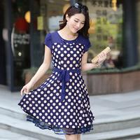 2014 female slim medium-long short-sleeve silk chiffon summer one-piece dress fabric
