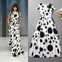 2014 Spring and summer women's runway fashion black polka dot charming full dress