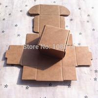 100pcs/lot free shipping 5.5X5.5x2.5CM small kraft Jewelry boxes earring paper boxes handmade box