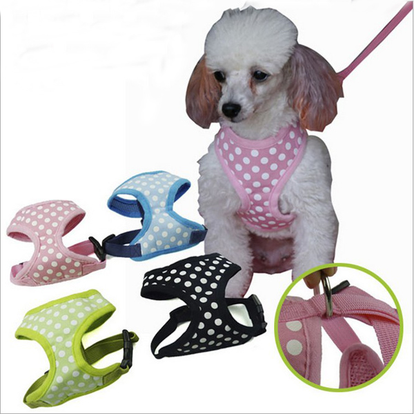 Soft Mesh Pet Dog Puppy Harness Vest Clothes Apparel with White Dots 5 Sizes(China (Mainland))