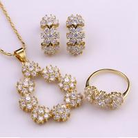 S3-0045,Flower style earring/ring/Necklace design kpop Jewelry Set Nickel & Lead free #6 #7 #8 #9
