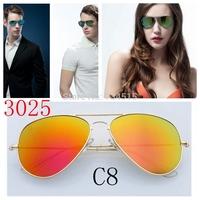 6 Colors Fashion Vintage Coating Sunglasses Brand Designer Men Women Aviator 3025 Sun Glasses Oculos De  Sol Gafas with original