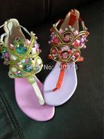 European designer shoes 2014 RC peaches powder luxuriant gem toe sandals leather diamond flat sandals women free shipping