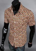 men's flower shirt -  summer of 2014 The wind of Hawaii Men's   orange short sleeve shirts /CZJ263A