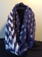 Free shipping ladies fashion  Anchor  print  with striped infinity scarf  hot sale scarf