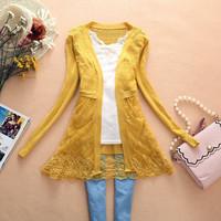 Free shipping 2014 new fashion women sweater thin outerwear cardigan cutout sweater lace PLUS SIZE cardigan knitted coat