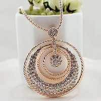 Women accessories round circle pendant necklace sweater chain rhinestone long necklace 2014 new fashion jewelry 0396