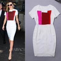 2014 Spring and summer new women's runway fashion three-color square grid white elegant slim dress