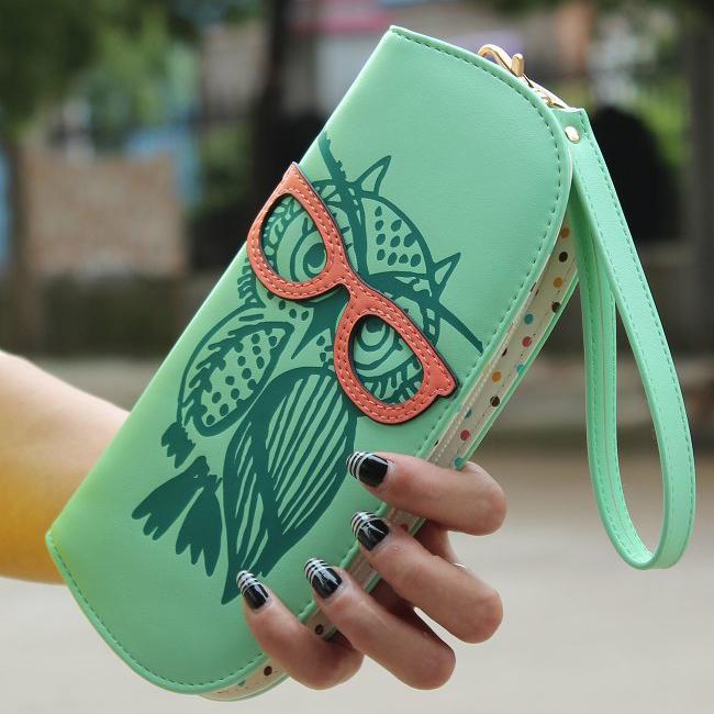 NEW 6 colors Big Capacity Stereoscopic Owl Print Carteira Women Wallets Ladies Clutch Carteras Femininas Money Holder Mobile Bag(China (Mainland))