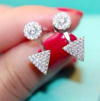 925 silver charm  zircon triangle earrings