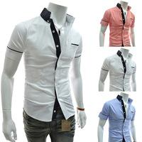 HOT Sales ! Free Shipping 2014 mens Short Shirt Mens Cotton Fashion Short Sleeve Shirt,3 Colors,Turn-down Collar,Thick Patchwork