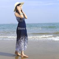 2014 time-limited new freeshipping o-neck chiffon regular sashes print sleeveless bohemian empire beach dress bead1002