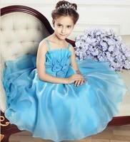Free shipping 2014 Hot Girls Sleeveless dresses Retail Waist Toddler 3D Flower Tutu Layered Princess Party Bow Kids Formal Dress