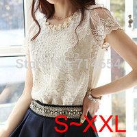 See Details PLZ!! 2014 Women chiffon Lace blouse floral lady tshirt embroidery chiffon t shirt women blouses summer 2014 S~XXL
