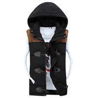 2014 Winter  New Casual Vest Men Good Quality Detachable Cap Waistcoat Men Spring Autumn Couples Sleeveless Jacket Size S to 3XL