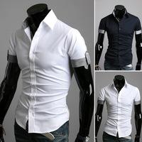 HOT Sales ! Free Shipping 2014 mens Short Shirt Mens Cotton Fashion Short Sleeve Shirt,3 Colors,Turn-down Collar,Thick Solid