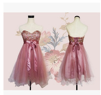 2014 new arrival fashion organza ball gown sweetheart beaded lace-up short bridesmaid dresses