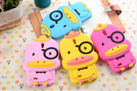2014 new cute cartoon yellow glasses duck Soft Silicone Phone Cases Cover for lenovo a850  free/drop shipping mobile phone case
