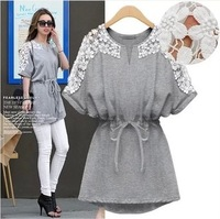 Spring and autumn dress female 2014 loose cotton dress brand desigual dresses casual dress plus size lace hollow dress MT0074