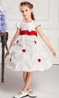Free shipping 2014 Hot Girls dresses  Retail Waist Toddler 3D Flower Tutu Layered Princess Party Bow Kids Formal Dress