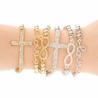 Fashion Imitated Gemstone Jewelry Sets Gold Silver bangles Love Cross Beads Charms Bracelet for Women Pulseiras Femininas