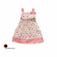 New Summer  Lovely Female Child  Pink Hats-printed  Sleeveless Cotton Girl Dress Ruffle Flounce Children Clothing