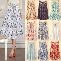 FreeShipping 2014 Bohemia style Maxi Skirt Flower Prints Pleated A-line Flounce Hem Cotton Linen Girl Summer Bohemian Long Skirt