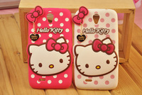 2014 new hello kitty bow silicone Soft Case Lovely Cover Skin Back for lenovo a850 free/drop shipping mobile phone case
