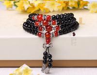 Natural red agate beads bracelet 108 Tibetan silver crystal bracelet Lucky Lucky evil female models