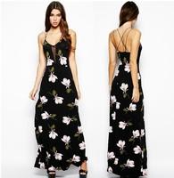 Hot sale XS-XXL Women Orchid Floral Print Mesh Straps Cross Stitching Deep V Halter Dress Split Maxi Long Slip Dress