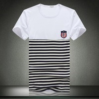 2014 summer new men's casual short-sleeved T-shirt Fashion Stripe stitching design Men slim fit O-neck T-shirt Big Size M-5XL
