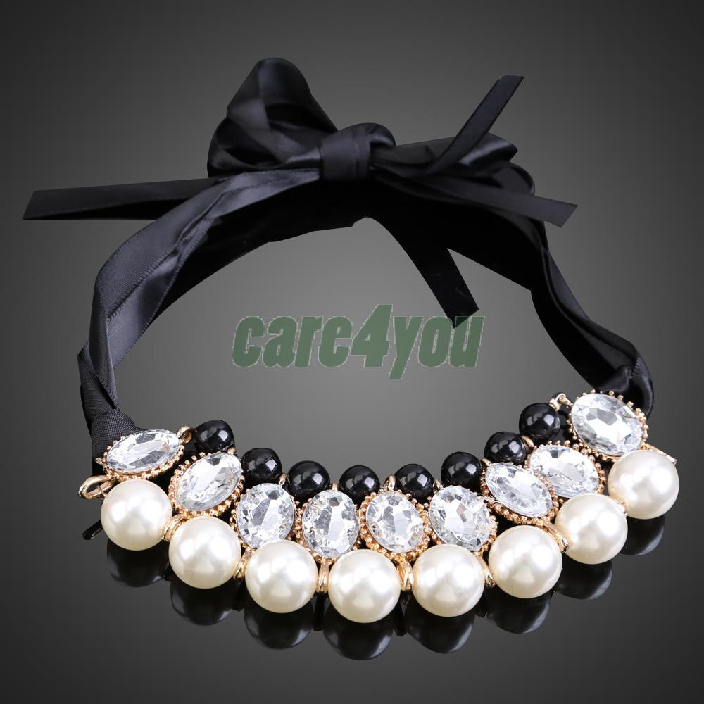 Korean Style Sweet White Pearls Jewlery Detachable Collar Chain Necklace E CH
