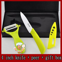 "4 ""inch ceramic Knife + peer + gift box / multy colors can select / Made of Zirconia knife super sharp / Freeshipping"