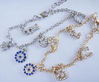 Min 3pcs Free Shipping! Vintage Brand Design Gold Silver Crystal Evil Eyes U Key Charm bracelet, vintage jewelry,