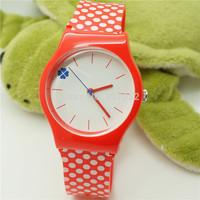2014 new watch Wristwatches simplicity Pink wave point  fashion watch women dress watches quartz watch + free shipping