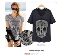 2014 Brand New Women Tees Casual Patch Skull embroidery Short Sleeve Loose T Shirt Lady Summer Blouse Top S M L XL