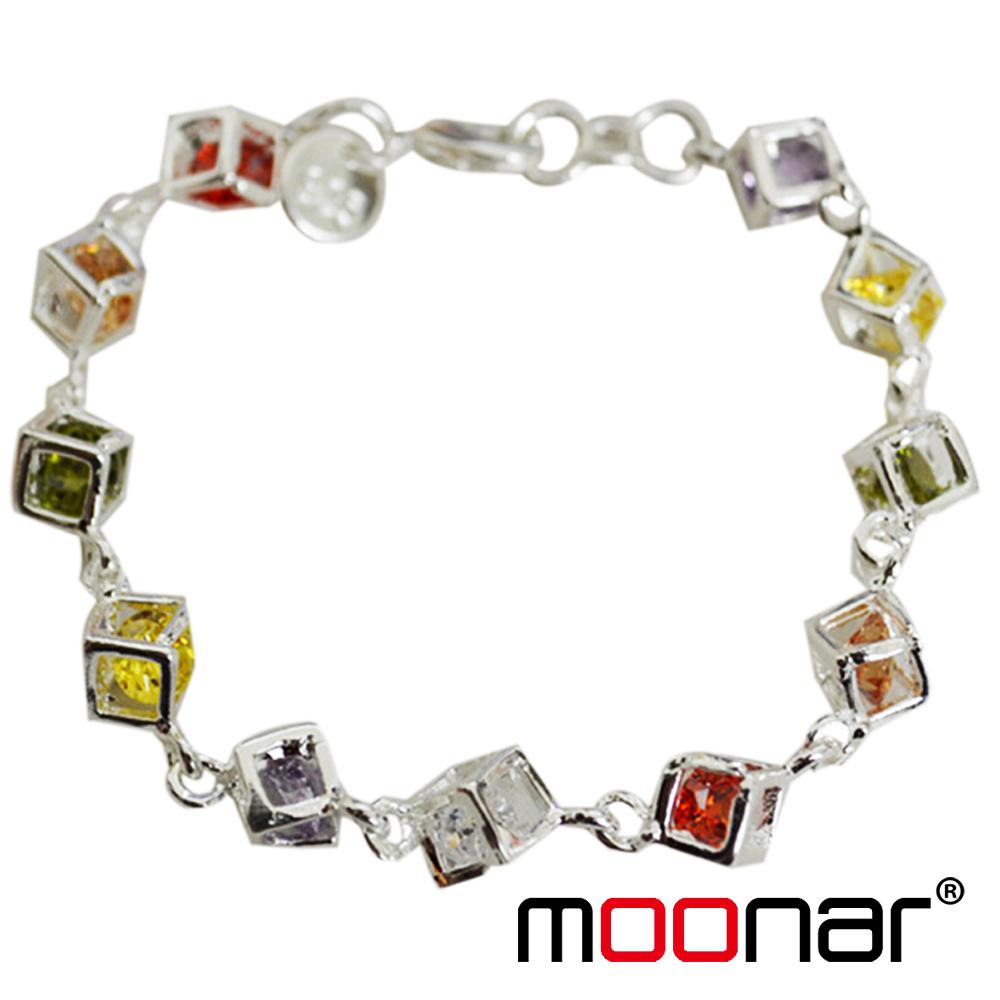 Popular Women's Girls' Fashion Colorful Plated Silver Cube Rhinestone Bangle Bracelet YMPJ010-30#M5(China (Mainland))