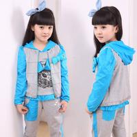 Children's clothing 2014 spring and autumn summer set female child sweatshirt piece set child casual outerwear child sports set
