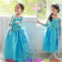1pcs Frozen clothes Romance elsa princess dress Elsa & Anna Movie Cosplay Costume kids girls Blue Dress party dreeese
