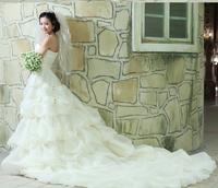 2014 New Fashion White Lace Elegant Bridal A-line Appliqued Soft Tulle Train Mermaid Wedding Dress vestido de noiva