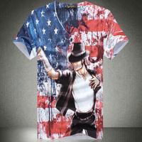 Men 3D T Shirt American Flag Pattern V-neck Casual T-shirt Male Michael Jackson Print shirt Free shipping  M-XL